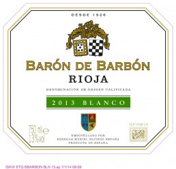 29269 BARON DE BARBON WHITE RIOJA 2013 FRONT LABEL